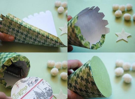 Realizzazione alberi con coni di cartone by pinksuedeshoe.com