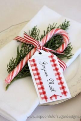 Bastoncino di zucchero come segnaposto per Natale