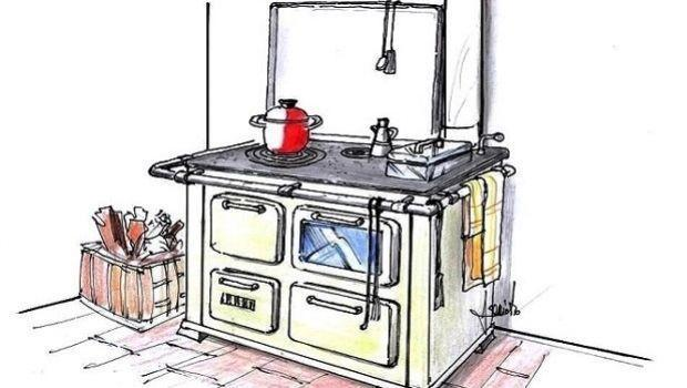 Soluzione d'arredo con cucina economica a legna