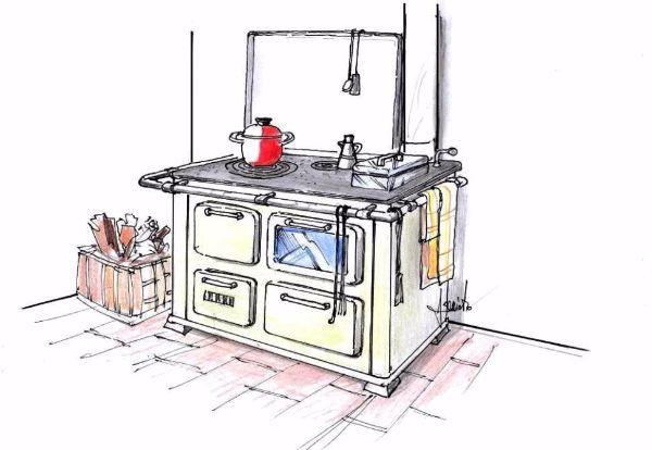 Vista prospettica di cucina economica a legna con piano in ghisa