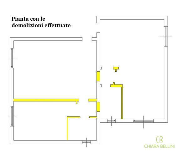 Ristrutturare due appartamenti unendoli: pianta demolizioni