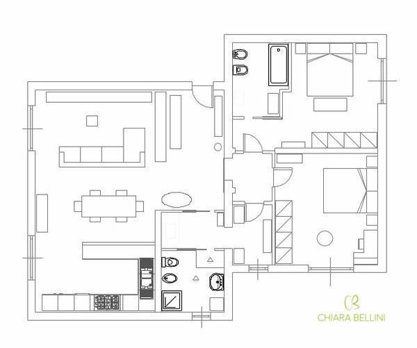 Unire due appartamenti confinanti: pianta stato di progetto