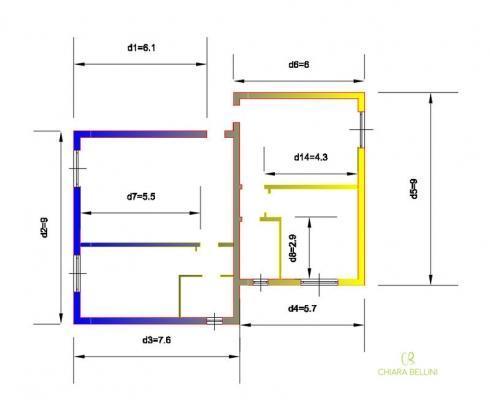 Ristrutturare e unire due vecchi appartamenti: pianta stato di fatto