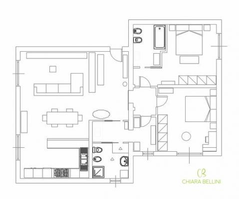 Ristrutturare e unire due vecchi appartamenti: pianta stato di progetto