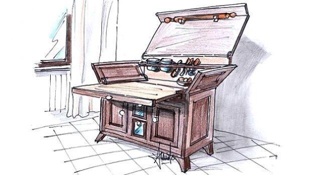 Idea d'arredo per madia da cucina con piano estraibile