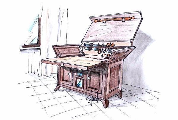 Madia da cucina con piano estraibile for Maggiordomi piani di dispensa piani