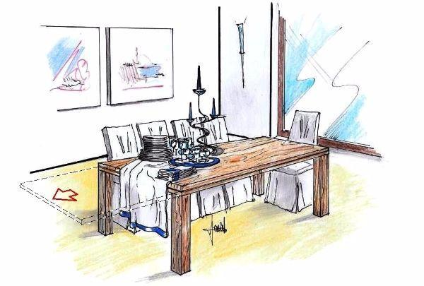 Tavolo allungabile in legno: movimento di apertura prolunghe
