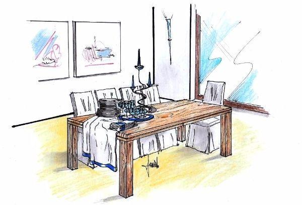 Disegno per zona pranzo con tavolo allungabile in legno