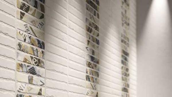 Elementi decorati, piastrelle per pareti nella serie Matt 11 di Orsolini.
