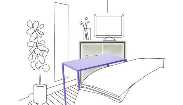 Portaoggetti e tavolino del sistema As If From Nowhere in funzione di porta-televisore.