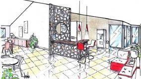 Idea progettuale per zona reception di bed & breakfast