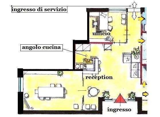 Pianta progettuale per reception di bed, con angolo cucina e ufficio