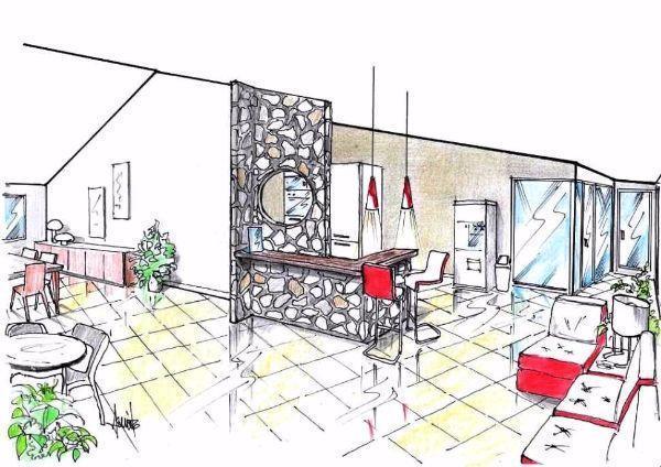 Disegno prospettico di zona reception con pietre a vista, nel bed and breakfast