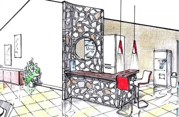 Banco reception con pietre a vista: idea di progetto per bed & breakfast