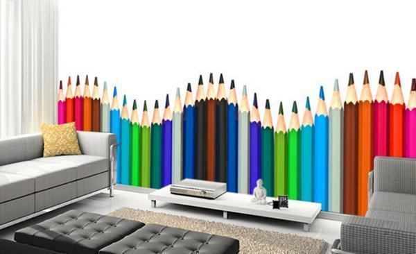 Carta da parati con matite giganti, su Aliexpress.com.