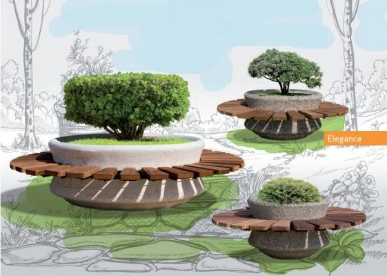 Fioriere circolari in cemento con panca in legno di UrbiUrbe