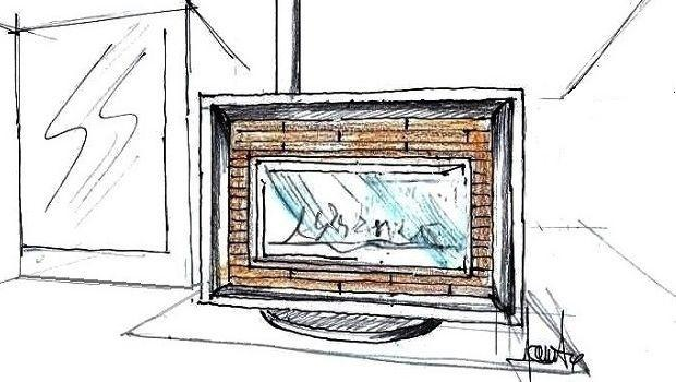 Soluzione progettuale di soggiorno con camino centrale a legna
