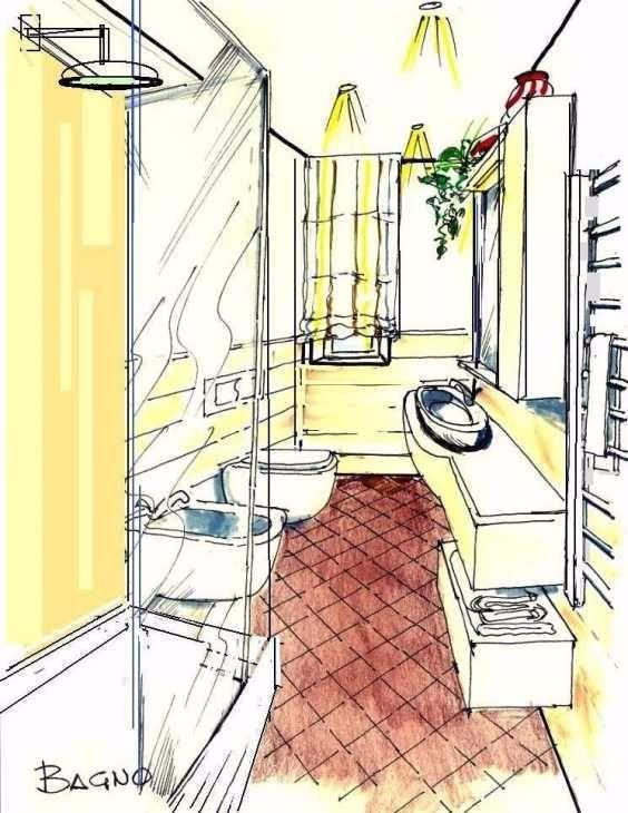 Disegno prospettico di bagno con doccia e sanitari a profondità ridotta