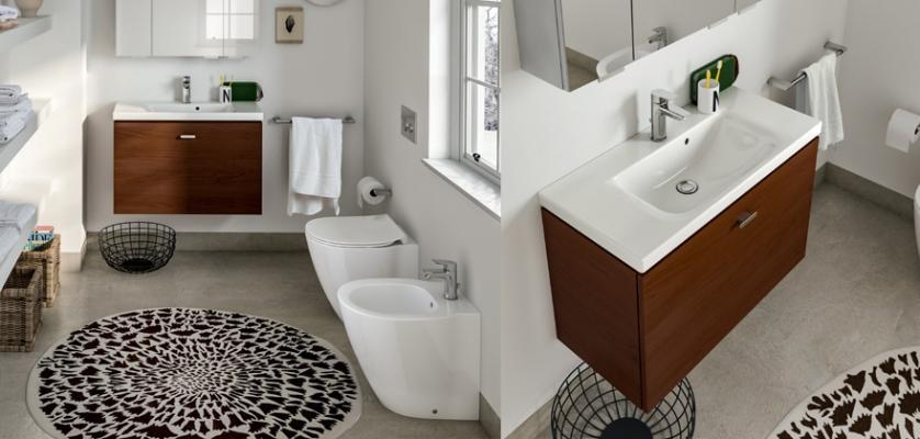Ambiente bagno con sanitari e arredi Connect Space, by Ideal Standard