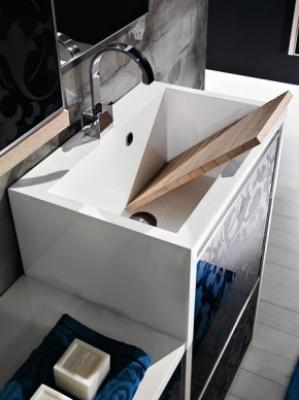 Lavatoio Qubo Montegrappa: un modulo di design per l'antibagno