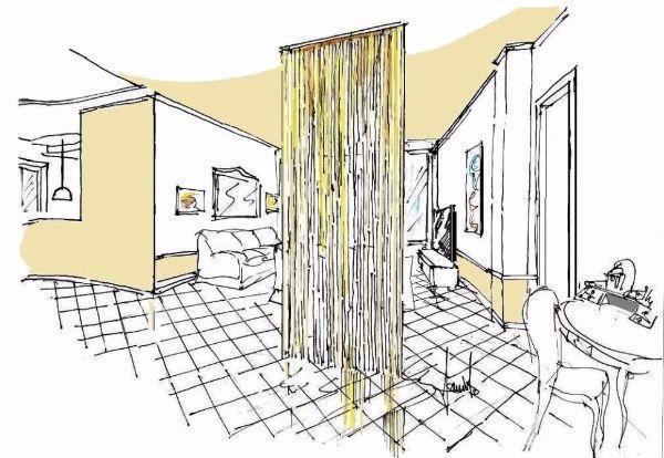 Tenda a fili, come filtro divisorio tra ingresso e salone, disegno prospettico