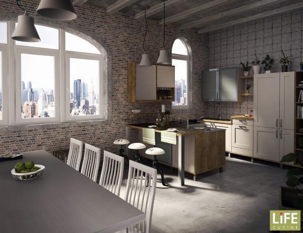 Cucina Open space, illuminazione artificiale coordinata