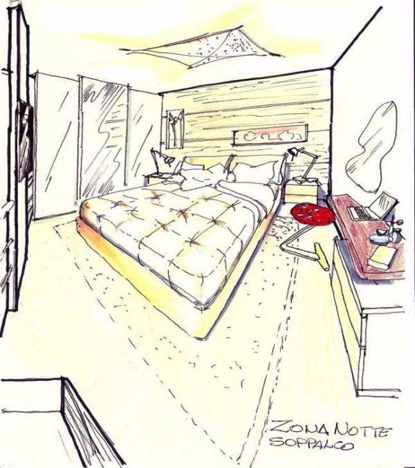 Camera da letto multitasking sul soppalco: disegno prospettico