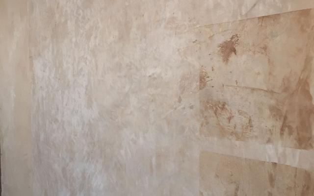 Particolare dell'intonachino decorativo di argilla TerraWabi di Matteo Brioni.