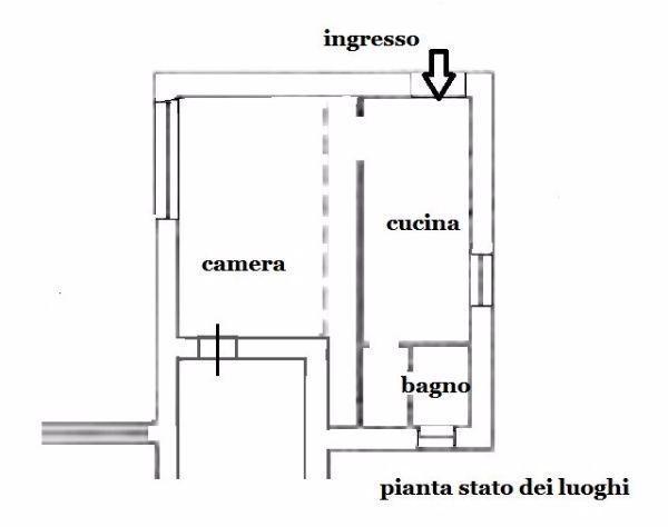 Mini appartamento 29 mq: pianta stato di fatto