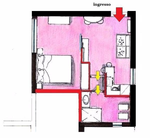 Appartamento open space di 29 mq: pianta di progetto arredata