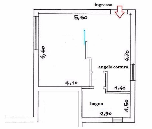 Miniappartamento 29 mq: pianta distributiva di progetto