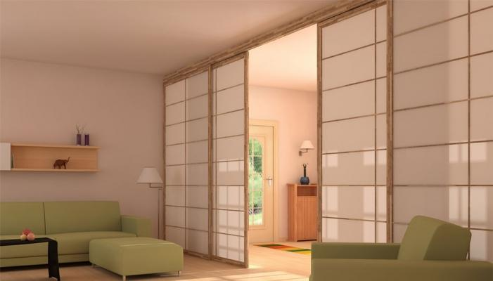 Miniappartamento: fluida divisione con pareti scorrevoli Shoji Cinius