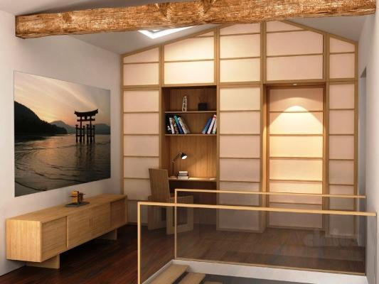 Mini appartamento, parete attrezzata bifacciale Shoji Cinius, per dividere gli ambienti