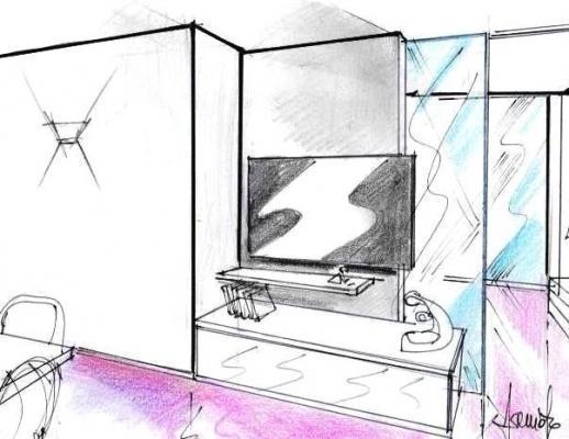 Interparete con vetrata scorrevole: divisorio poliedrico per mini appartamento