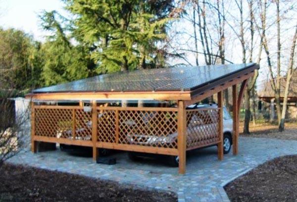Tettoie in legno lamellare per auto- fotovoltaico- Edil legno