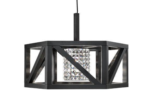 lampadario in legno e cristalli modello Timber di P&V Light