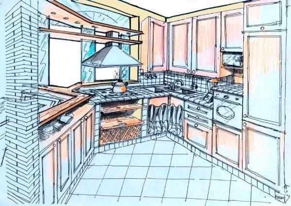 Composizione cucina con doppio angolo: disegno prospettico