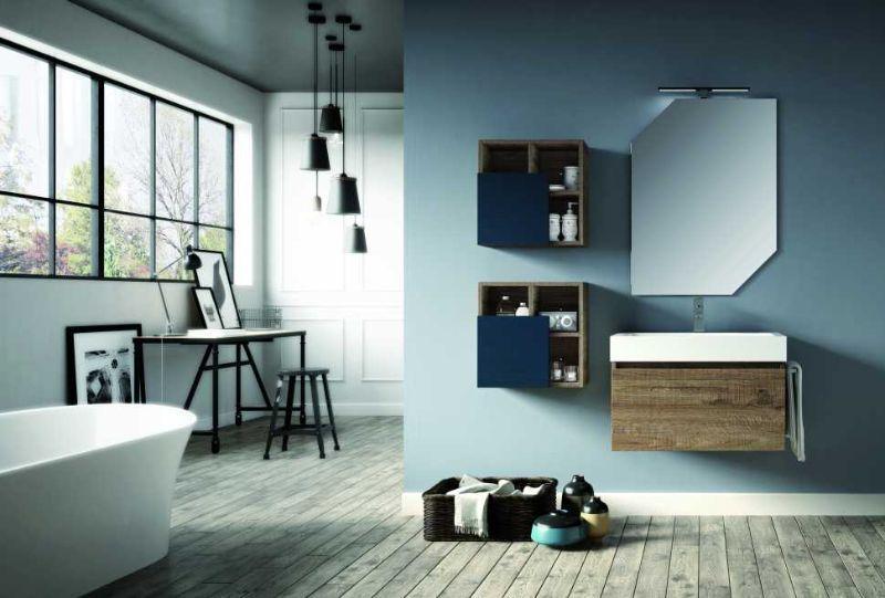 Base+lavabo QUBO 70 in laminato finitura Sherwood e lavabo in marmoresina bianco lucido
