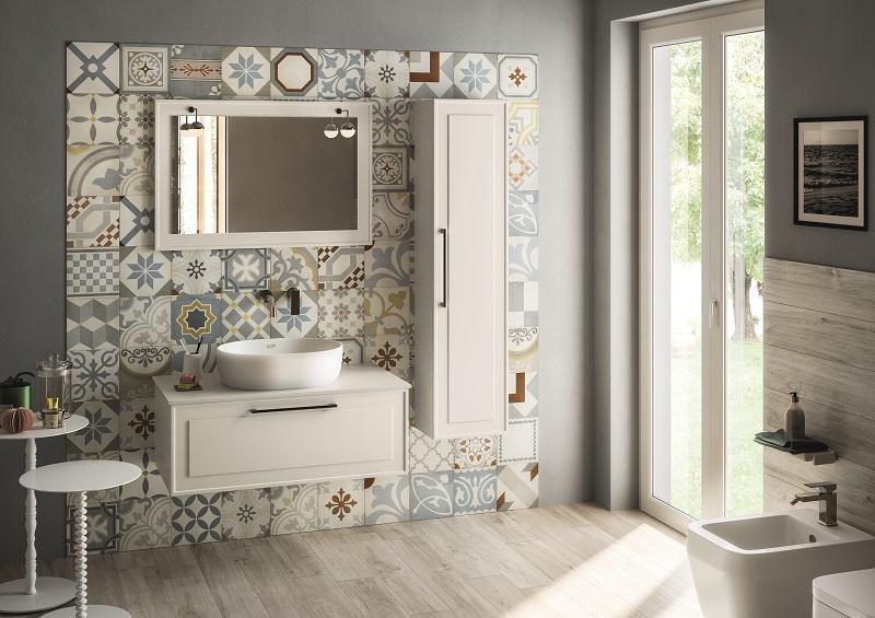 Base+lavabo LIBERTY 90 con 2 cassetti in PVC antigraffio BIANCO OPACO, maniglie cromo satinato e lavabo integrato in marmoresina bianco lucido