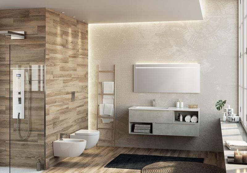 Base+lavabo TRENDY 140 laminato antigraffio finitura CEMENTO SPATOLATO e lavabo integrato in marmoresina Bianco lucido con vasca destra o sinistra