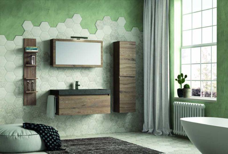 Base+lavabo QUBO 100 in laminato finitura Sherwood e lavabo integrato in pietra Nera