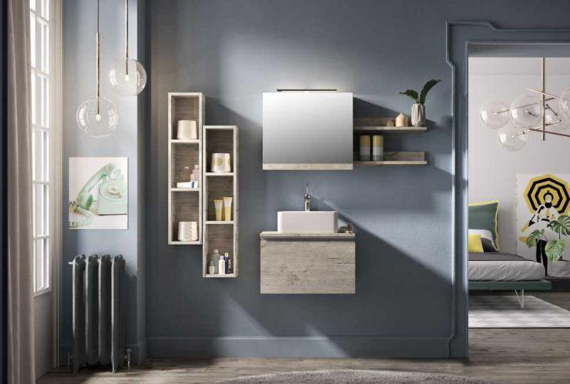 Base+top per lavabi in appoggio SMART 60 in laminato antigraffio finitura NATURAL OAK