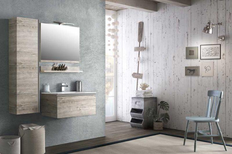 Base+lavabo SMART 75 in laminato antigraffio finitura NATURAL OAK con lavabo in ceramica bianco