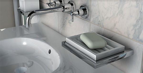Accessori bagno in acciaio inox e ceramica, portasapone in ceramica bianca della serie Xoni di IBB