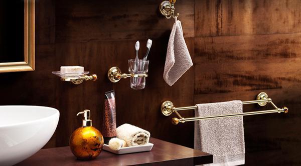 Accessori per il bagno Murano di IBB, versione arancione ambra