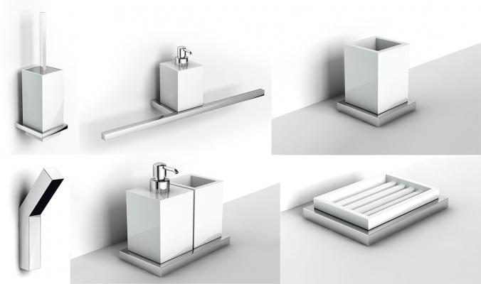 set accessori per il bagno della collezione xoni di ibb