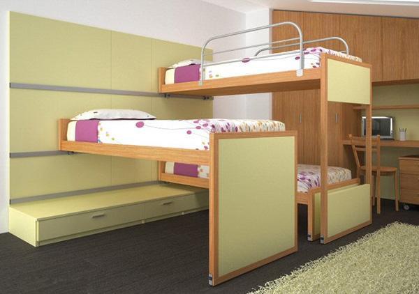 Camera per mansarde basse tripla con mobili Young e letti scorrevoli, di Diotti A&F