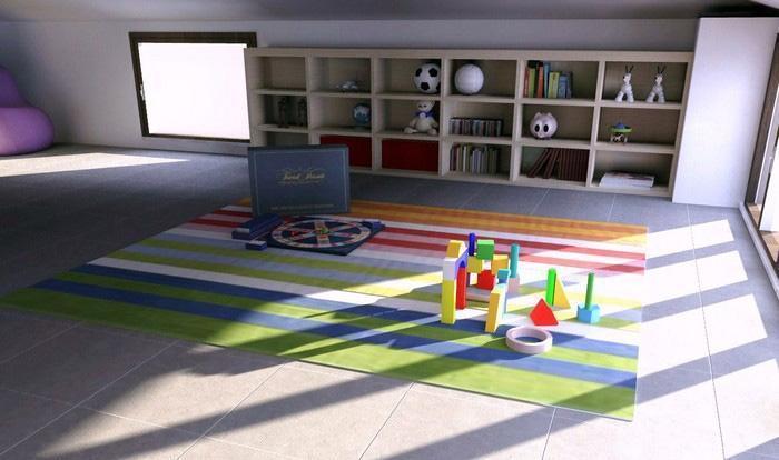 Cameretta doppia nel sottotetto con mobili Seipersei di Diotti A&F: zona gioco