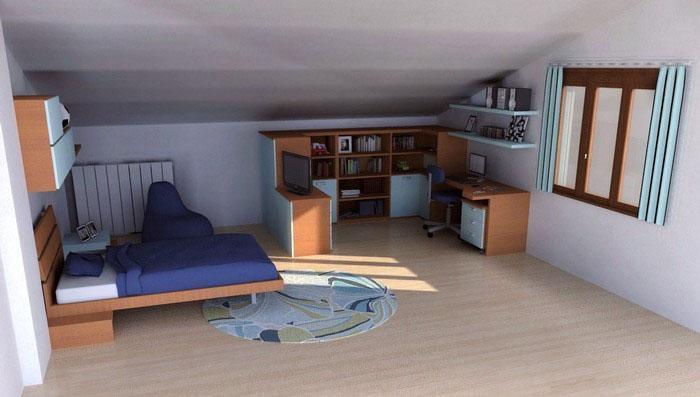 Cameretta singola mansardata arredata con mobili Young di Diotti A&F: zona studio