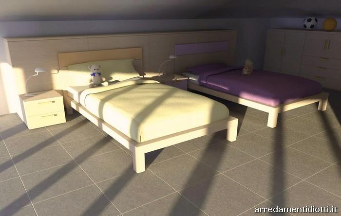 Cameretta doppia nel sottotetto con mobili Seipersei di Diotti A&F: zona letto